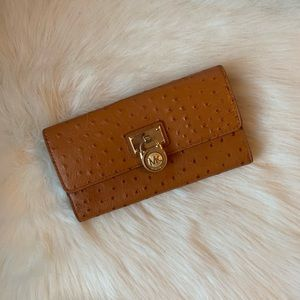 MK Hamilton Large Flap Ostrich Embossed Wallet
